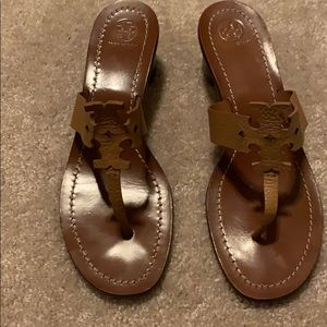 Tory Burch Tan Heel Sandals. Size 10.5